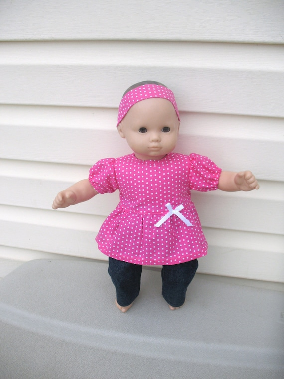 15 Inch Doll Outfit for Bitty Baby or Bitty Twin Dolls, Pink with White Polka Dots Babydoll Style Shirt, Denim Jeans, Headband