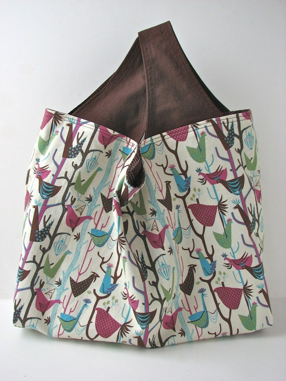 Reversible Reusable Grocery Bag in Morning Birds and Venice Landscape in Aqua and Brown  - ready to ship