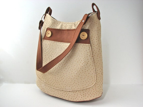 Leather Bucket Bag in Cappuccino Cream Ostrich print lambskin and Cinnamon Brown lambskin accents - ready to ship