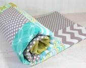 Baby Blanket, Boy Patchwork Baby Blanket, Photography Prop, Stroller Blanket, Nursery Decor, Teal, Aqua Blue, Olive Green and Gray-Last One
