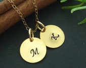 2 Custom Initials - Custom Fancy  Calligraphy Script Letter Charm Necklace in 14k Gold Filled Chain