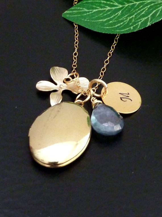 Custom Initial and Stone - Oval Locket, Fancy Script Initial Disk, Orchid Flower, Blue Quartz Necklace in Gold Filled Chain