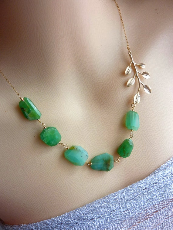 LAST ONE - Green Peruvian Opal Golden Leaf Beaded Necklace in 14k Gold Filled Chain