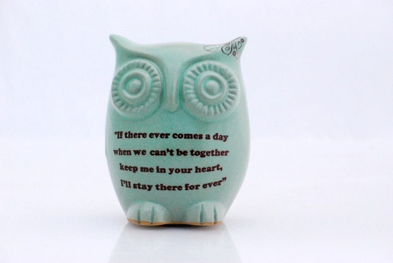 Owl  Winnie the pooh quote on mint  friendship