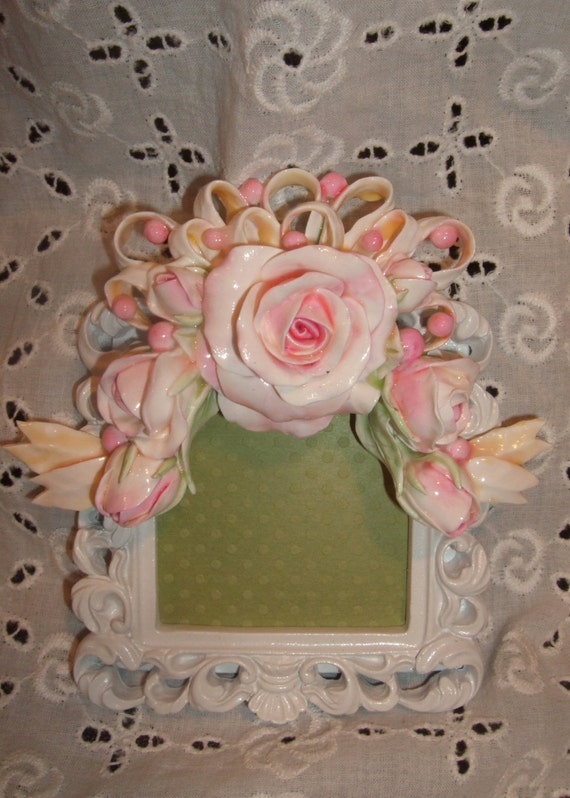 Shabby Chic Frame with Handmade Cottage Rose Applique