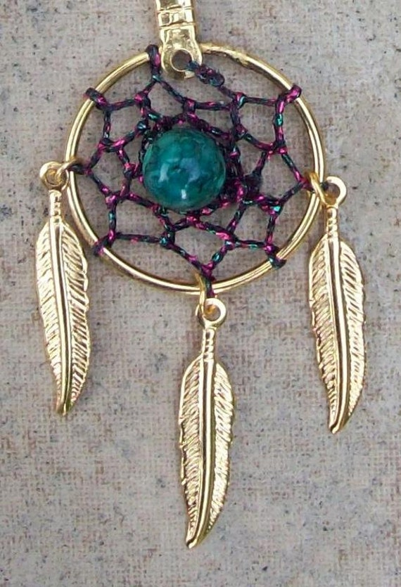 SPIRIT ll  Pink,Green and Gold Dreamcatcher necklace w/ three feathers - larger center stone than spirit l