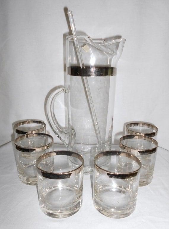 Vintage  Hollywood Regency Silver Rimmed   Cocktail Glass  Set  Pitcher with  6 Glasses and Stirrer