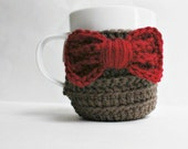 Coffee Cozy, Tea Cup Cozy, Eleventh Doctor, red, brown, bow tie, sci fi, Fathers Day, Doctor who, Matt smith, men's, for him, nerd