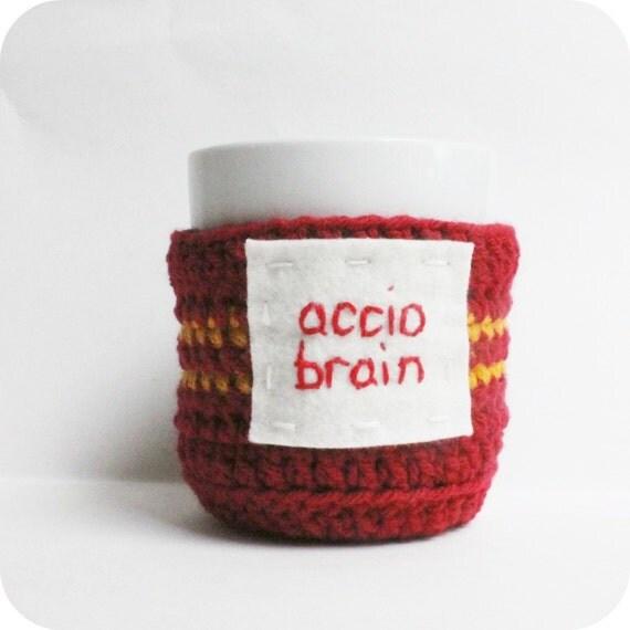 Coffee cozy, Tea Cup Cozy, accio Brain, red yellow, crochet, gryffindor, Harry Potter mug, wizard, spell