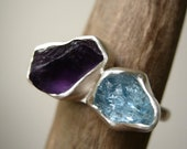 Duo Birthstone Ring, Choose Your Rough stones - Sterling Silver - Unique Mother days ring - Made for You and Your Second Half