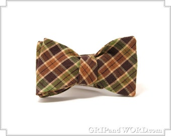 The Lestrade - Green and Brown Plaid Freestyle Bow Tie
