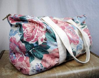 Vintage 80s Floral Gym Tote Bag