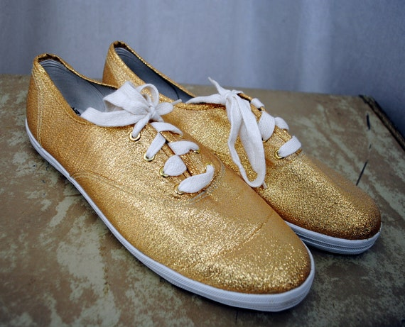 Metallic Gold Vintage 80s 90s Sneakers - By Side Effects, Size 9 1/2