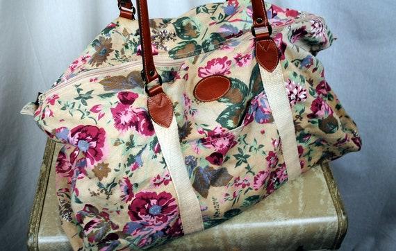 Vintage 80s 90s Gitano Floral Weekender Overnight Tote Bag
