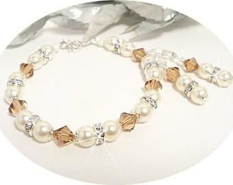 Bridesmaid Jewelry, Bracelet and Earrings Set, Smokey Topaz, November Birthstone, Butterscotch, Ivory, Wedding