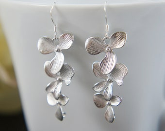 silver orchid earrings, tripe cascading flower, drop earrings, bridal earrings