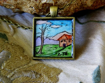 Tiny Old House Watercolor Painting Necklace