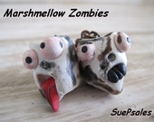 Zombie Toasted Marshmellow Earrings, Funny Polymer Clay Earrings, Hand sculpted, original design