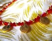Antique Vintage 22kt Vermeil Gold Mini Good Luck Charm Coin & Red Swarovski Crystal Indian Wedding Necklace