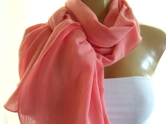 Soft Coral..Cotton gauze scarf ..Summer scarf...Extra long ..Neck Rag... Summer fashion