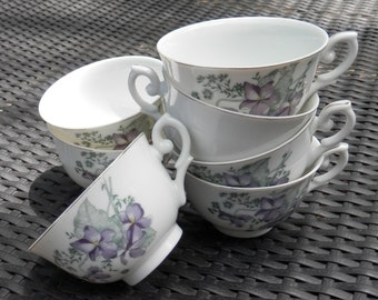 set of 7 little china cups made in Japan- Violas