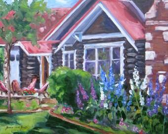 original oil painting, mountain cabin art, delphinums flower painting, western Jackson Hole art, wall decor, Janice Trane Jones 11 x 14