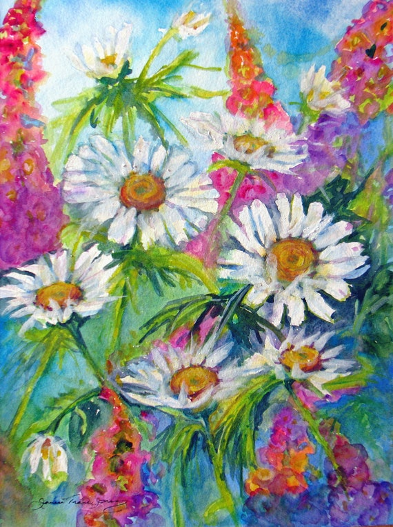 Large abstract flower original watercolor painting contemporary daisy lupine garden landscape impressionism contemporary fine art 11 x 14