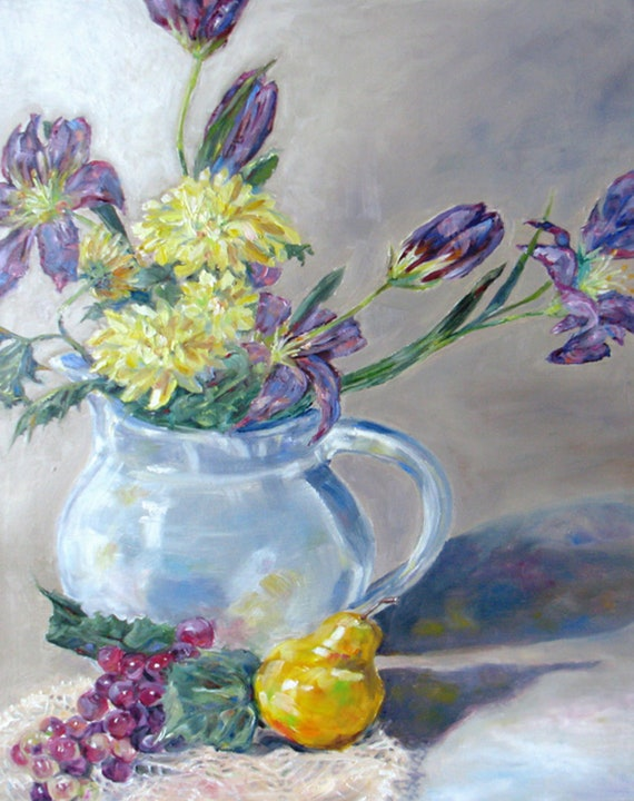RESERVED for Karen large impressionism still life Original oil painting canvas floral lilies daisies grapes pear flowers fine art 16 x 20