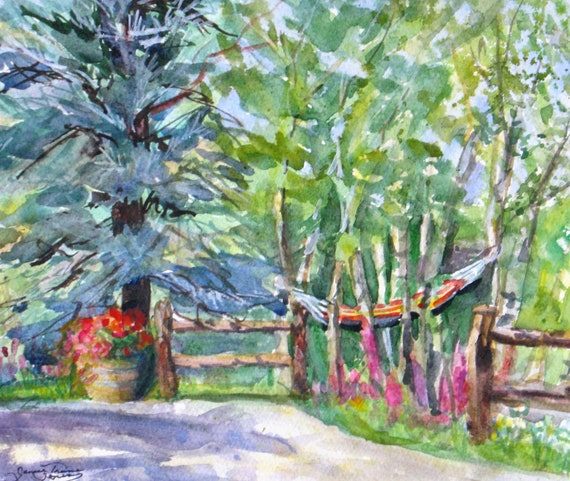 garden landscape original watercolor painting hammock flowers trees mountain home impressionism