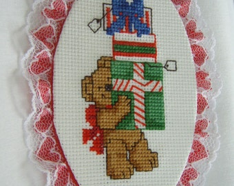 Cross Stitched  BEAR with PRESENTS ORNAMENT