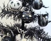 Halloween Black Cat Paper Mache Folk Art Ornament - Vintage-Style