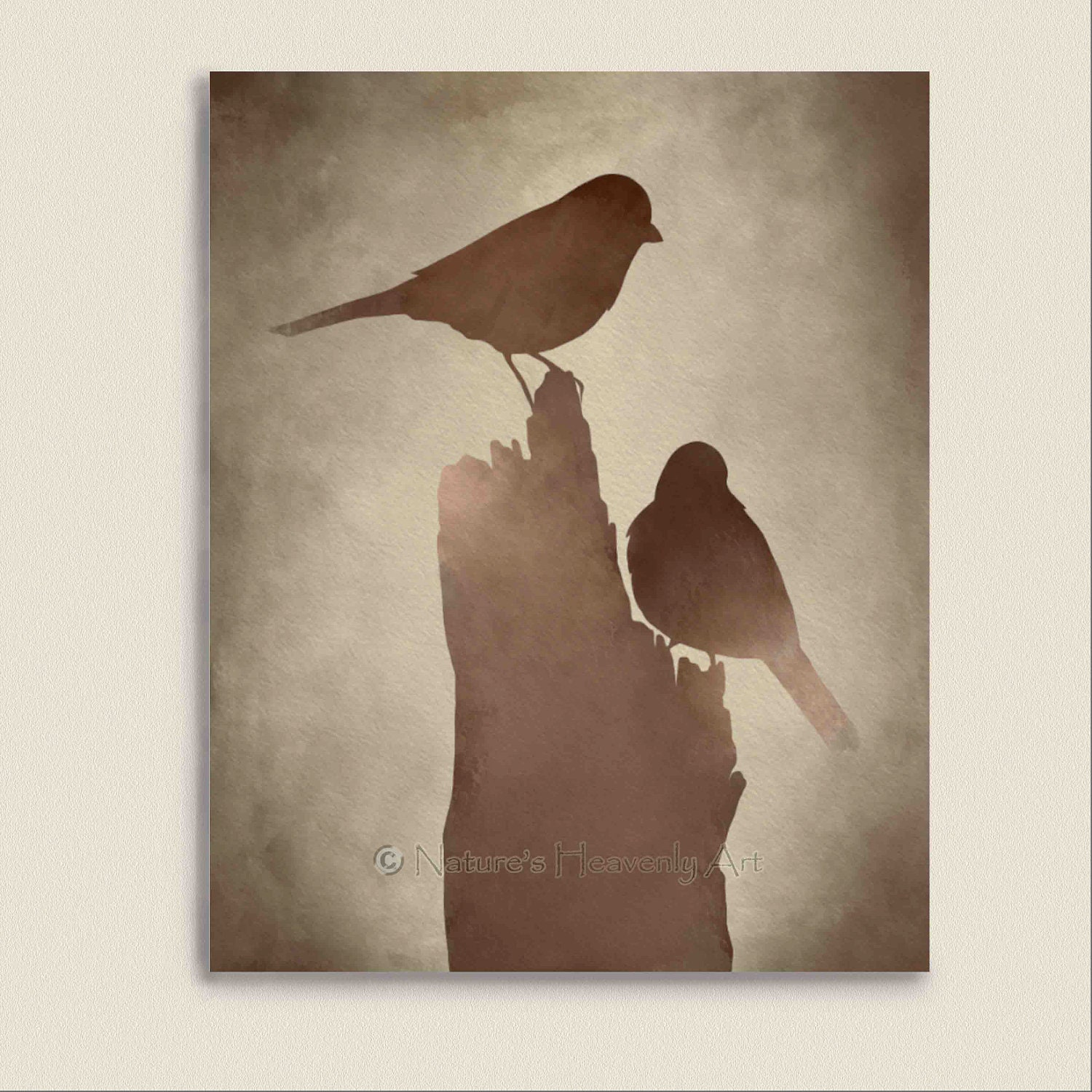 bird wall art print brown decor earthtone by. Black Bedroom Furniture Sets. Home Design Ideas