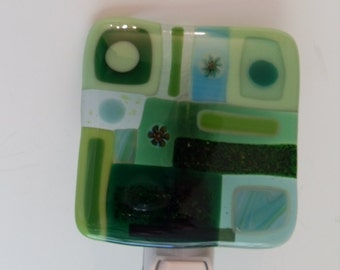 Green Fused glass night light