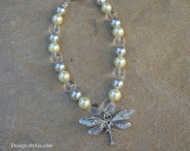 The Dragon Fly, pearl and silver beaded necklace