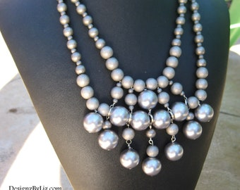 The Gladiator, chunky bib necklace with large silver beads