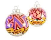 Very Small Handpainted Sigma Lambda Gamma Holiday Ornament