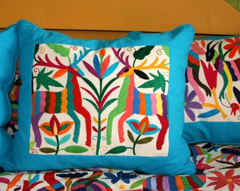 Multi Colored Otomi Pillow Sham Piece with Turquoise framing-Ready to ship