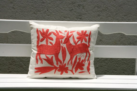 Tangerine dream  Folk Art Pillow Sham-Otomi Embroidery Ready to ship.