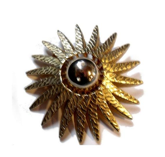 "Atomic Flower or UFO Shaped Large Brooch or Pendant. 2.5"" diameter."