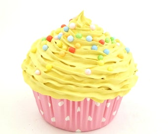 Tea Party Cupcake Fake Cupcake tea party great for cupcake theme party decoration birthday baby first birthday party yellow icing