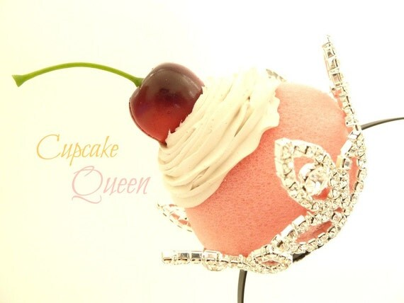 The Cupcake Queen Headband Rhinestone Crown cupcake photo prop ,birthday party hat , Theme tea party hat  and for  halloween cupcake costume