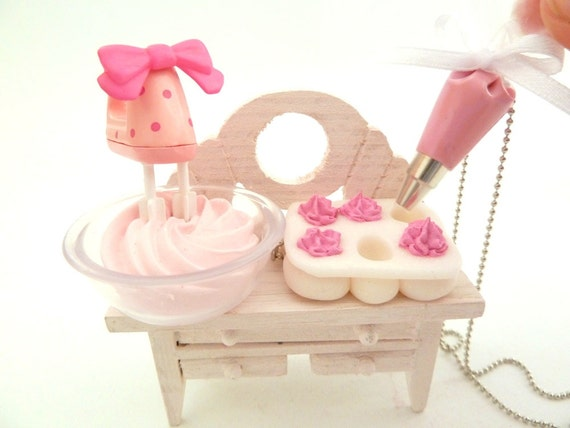 "The Bakers Necklace "" Who Ate My Cupcakes"" Miniature Cupcake Tin Muffin Pan with fake cupcake frosting and and pink Pastry Bag charm"