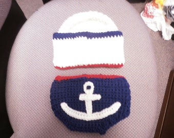 Baby or toddler hat and diaper cover set  Sailor set 0-3 or any size to 18mth same price