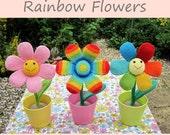 ENGLISH Instructions - Instant Download PDF Crochet Pattern Rainbow Flowers
