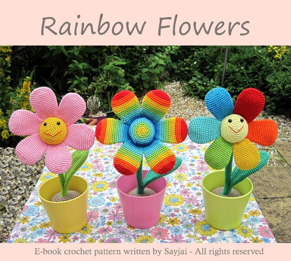 ENGLISH Instructions - Instant Download PDF Crochet Pattern Rainbow Flowers