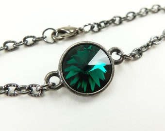 May Birthstone Bracelet Emerald Crystal Bracelet Dark Silver Gunmetal Emerald Chain Bracelet 7 inches