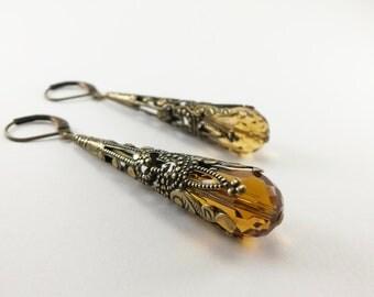 Amber Earrings Brass Filigree Leverback Teardrop Earrings Victorian Jewelry Neutral Earrings