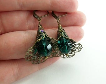 Green Earrings Dangle Earrings Brass Leverback Earrings Green Jewelry Victorian Style Filigree Earrings