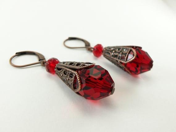 Red Earrings Copper Earrings Dangle Earrings Copper Leverback Earrings Red Jewelry Victorian