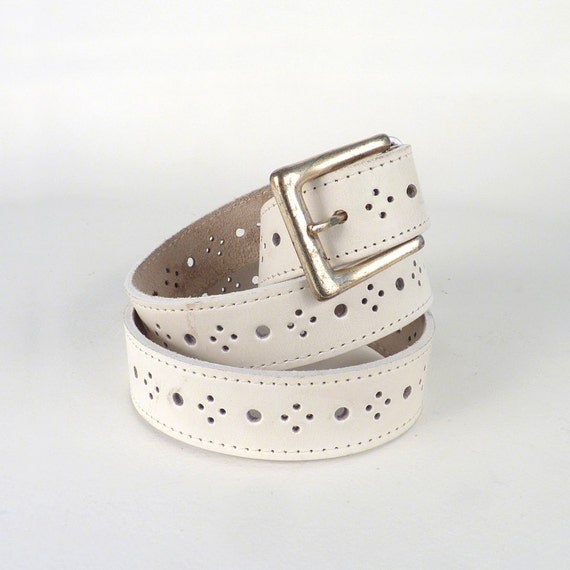 Vintage Belt White Accessory Hole Punched Design Leather Stitched Silver Colored Buckle Under 20